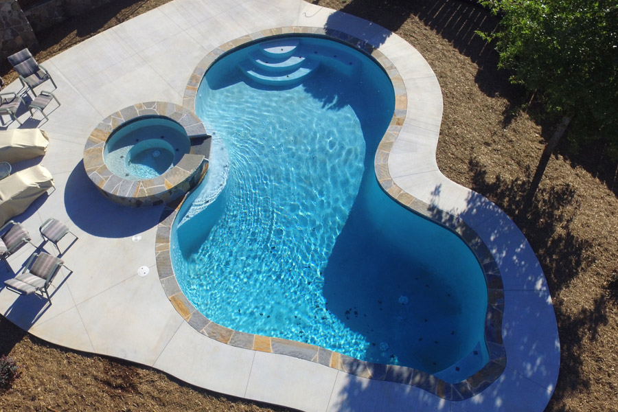free form gunite pool in greenville, sc