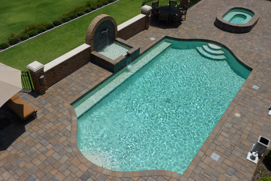 grecian shaped gunite pool