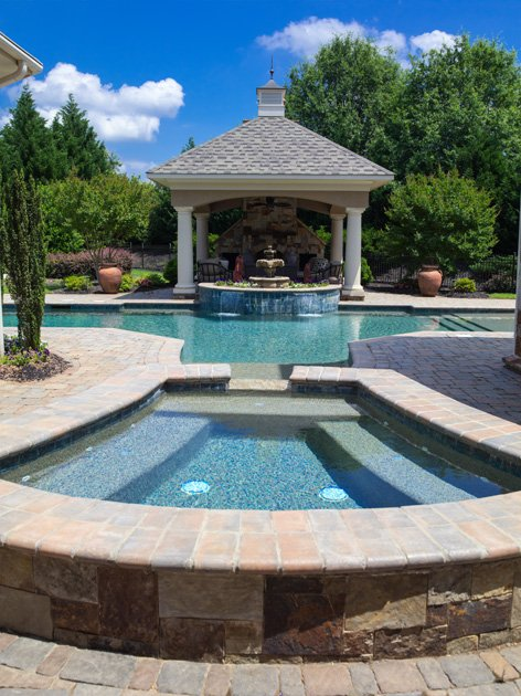 gunite swimming pool and spa in greenville, sc
